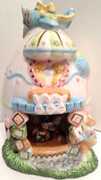 "8"" Decorative Pastel Easter Ceramic Egg House with Bunny Rabbits"