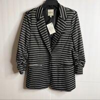 Audrey 3+1 Size Medium Womens Black White Stripe Button Blazer NWT Ruched Sleeve