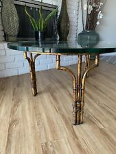 Faux Bamboo Mid Century Modern Oval Glass Top Coffee Table Hollywood Regency
