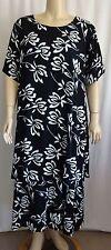 L9 Black Wht Blue Hawaiian Rayon Dress Wearable ART Batik Bust 50  1X 2X