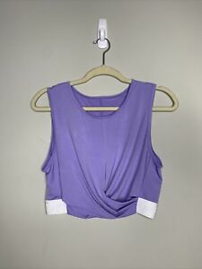Fabletics Womens Lavender White Cropped Workout Top Crossover Design Size Large