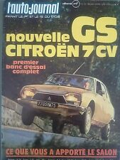 L'AUTO JOURNAL 1972 18 CITROEN GS 1220 CLUB GP CANADA TOUR AUTO SALON 72 JAPAUTO