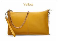 genuine leather chain purse clutch shoulder handbag black red green orange pink