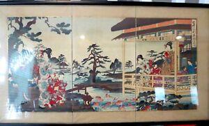 TRIPTYCH Japanese WOODBLOCK Nobukazu Yosai Watanabe PLAYING IN THE GARDEN