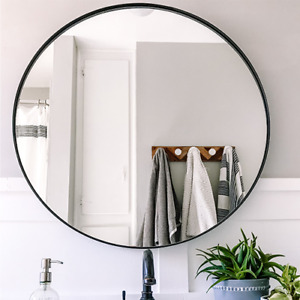 "Round Framed Mirror - 30"" - Black, Gold, Brushed Nickel Finishes"