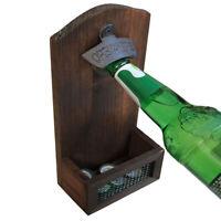 Vintage Wall Mount Wood Bottle Openers Plaque Bottle Cap Catcher Openers New