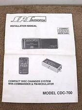 Original AUDIOVOX SPS CDC-700 CD CHANGER SYSTEM INSTALLATION MANUAL