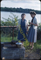 Women Camp Stove Pots Dress Fashion 1950s 35mm Slide Red Border Kodachrome