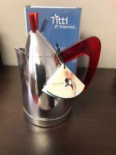 Giannini Titti de Giannini 4/2 Cup Stovetop Espresso Pot BNIB Red Handle