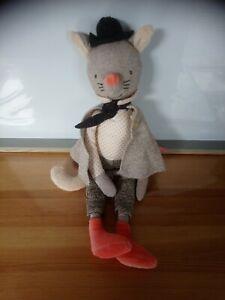 Peluche doudou souris cape cravate chapeau  36 cm Il était une fois Moulin Roty