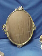 Antique Ornate Large Brass Mirror with Leaves Brass Backing Hanging Wall Mirror