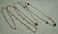 VINTAGE MULTI STONE & SHELL BEADED STATION GOLD TONE LONG NECKLACE LOT