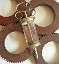 Ancienne seringue à lavement clystère verre & métal 30's metal & glass syringe
