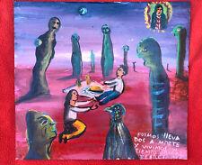 Mexican Folk Art M Hernandez Picnic With Extraterrestrials Retablo ~  Ex Voto