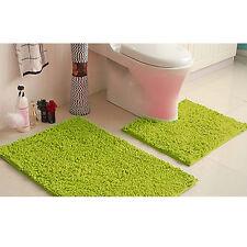 NEW 2 PIECE BATH & PEDESTAL MAT TOILET SET NON SLIP MACHINE WASHABLE BATHMAT SET