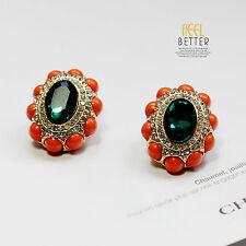 earrings Clips Golden Studs Oval Green Emerald Mini Pearl Coral J6