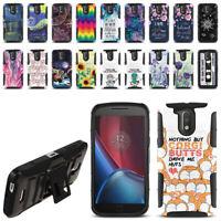 "For Motorola Moto G4/ G4 Plus 5.5"" XT1625 Hybrid Kickstand Phone Case Cover"