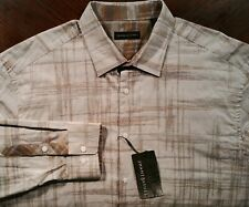 NWT Jhane Barnes Tan Gray Abstract Lines Pattern Casual Shirt Mens 2XL XXL $165
