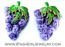 Handmade Big Purple Grape Fruit Crochet Yarn Stud EARRINGS Food Fashion Jewelry