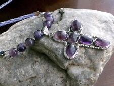 Amethyst Kreuz Leder Kette Halskette lang Purple Cross Lila Violett Flieder