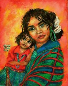 Sandy Austin Stein Madonna of Survival 8x10 Painting Native American Child