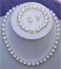 gorgeous jewelry set SOUTH SEA  White NATURAL 9-10MM PEARL NECKLACE 14K