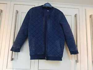 M&S Boys Navy Bomber Style Quilted Jacket 7-8 Years VGC