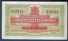 STRAITS SETTLEMENTS - 10 CENTS Pick n° 8.b du 14 octobre 1919 en SUP B/60 32344