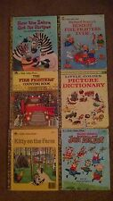 Vintage Little Golden Books lot Richard Scarry Busy Firefighters Dictionary