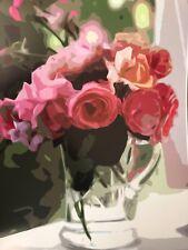 "Flowers Fine Art print Rose 8x10"" Roses Vase Crystal Pink Green Poster NEW"