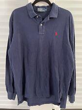 Polo Ralph Lauren Long Sleeve Rugby Polo Button Shirt Logo Casual Golf Prep Sz L