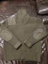 Polo Ralph Lauren Military Shawl Collar Sweater Size M Olive Green Cotton