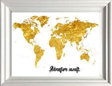 MAPPA del mondo Oro Metallizzato Stile Poster Stampa studio camera da letto, Educativo Avventura A4