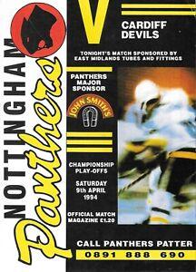 1994 Nottingham Panthers v Cardiff Devils Ice Hockey Programme (9/4/94)