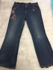 LEVIS Girls Size 12.5 12 Plus rose Print Pink Embellished Boot Cut Stretch Jeans