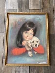 Beautiful Large Gold Frame Louis Shabner Puppy Love Picture Print