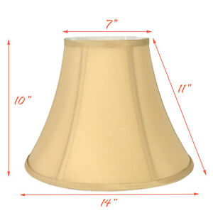 """Light Gold Bell Hand Made Fabric Lampshade, 7x14x11""""H, (Spider)"""