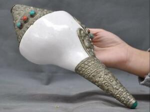 Old Tibet Buddhism Conch silk Turquoise Red Coral Hand carved Shell Trumpet Horn