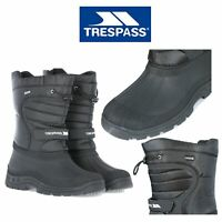 Trespass Mens Womens Pull On Snow Boots Black Winter Water Resistant Boots Dodo