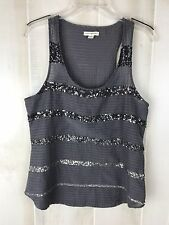 American Eagle Outfitters Ladies Size 10 Dark Gray Sequined Tank Top Shirt
