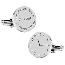 Personalised Silver Plated Groom Wedding Time & Date Cufflinks Gift