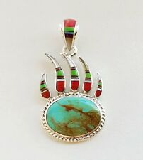 BISBEE BLUE TURQUOISE MULTICOLOR LAPIZ SPINY INLAY .925 SILVER BEAR PAW PENDANT