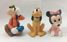 Vintage Lot of 3 Disney Squeeze Toy Figures! Pluto Goofy Minnie Babies