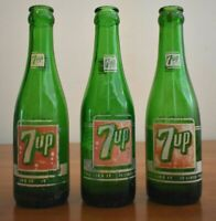 Vintage Lot of Three 7UP Bottles Made in Asheville and Hickory NC