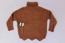 Cliche Women's Cable Knit Turtleneck Sweater SV3 Brown Medium NWT