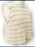 Vintage Crochet Knit Sleeveless High Mock Neck Short Vest Jumper M (10/12/14)