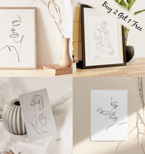 Abstract Continuous Line Art Drawing Prints Home Picture Minimalist Wall Poster