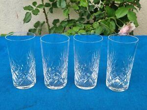 Série de 4 verres à orangeade en cristal de St Louis, modèle CHANTILLY signés