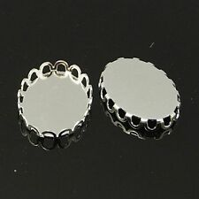20pcs Silver Oval Cabochon Settings DIY Findings for Pendant Necklace Making