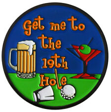 Get Me to the 19th Hole Golf Ball Marker & Black Nickel Hat Clip